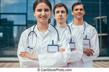 close up. group of confident medical professionals standing in a row.