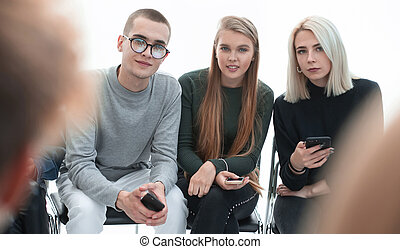 close up. group of young people with smartphones
