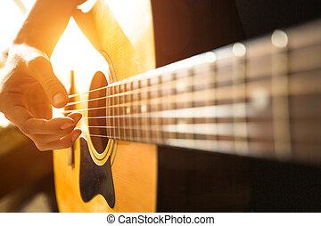 close-up, guitar., mão, femininas, acústico, tocando