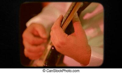 close-up., guitar., retro, homme, jouer