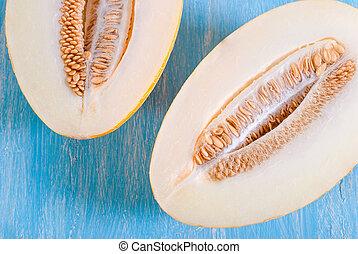 Close-up half of a ripe melon.
