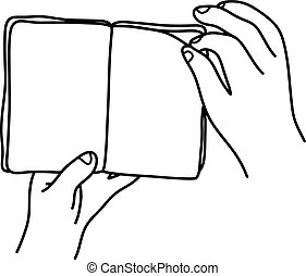 close-up hand flip over to the next page of a book vector illustration sketch doodle hand drawn with black lines isolated on white background