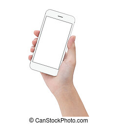 close-up hand hold phone isolated on white, mock up...