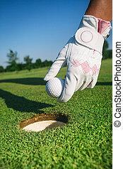 close-up, hand, houden, golf bal