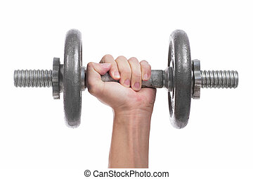 Close up hand men workout dumbbell on white background.