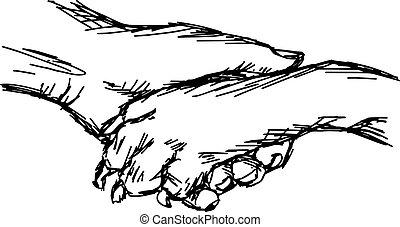 close up hand of man and dog shaking, vector illustration...
