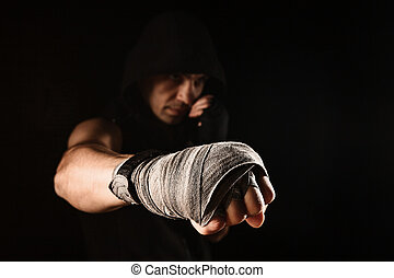 Close-up hand of muscular man with bandage - Close-up hand...
