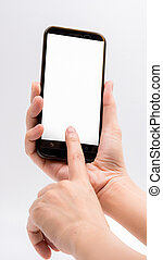 Close-up hand touching smartphone screen isolated on white background with clipping path and copy space for text, mock up mobile phone with blank screen.