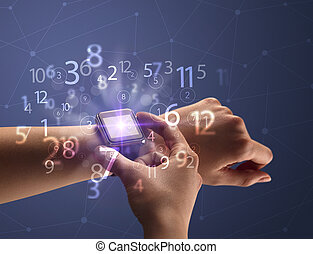 Close up hand with smartwatch and numbers - Close up female ...