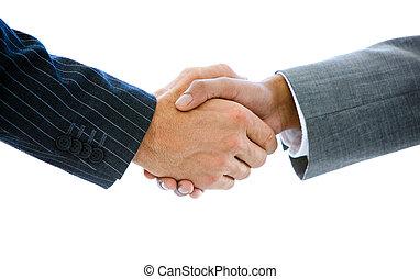 close-up, handen te schudden, zakenlui