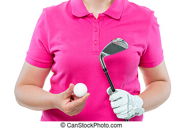 close-up hands of a golfer with a ball and a club in the studio on a white background