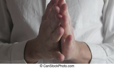 Close up Hands of caucasian man being anxious, nervous and...