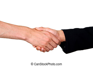 close up handshake isolated on white