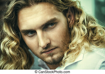 close-up handsome face - Close-up portrait of a handsome...