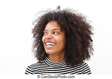 Close up happy african american woman smiling against white background