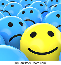 close up of a yellow happy smiley between many blue sad others as concept for unique, optimistic, positive, etc.