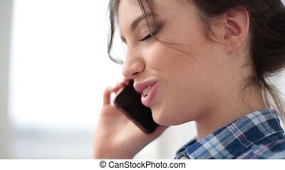 Close up Happy Young Blond Woman Talking Though Phone