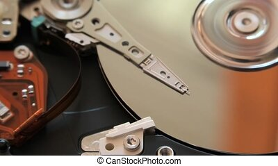 close up hard disk - close up of interior of an hard disk...