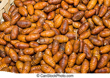 Close-Up Heap Silkworm Pupae Bombyx Mori Larva - Close-Up...