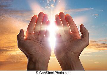 close-up, het bidden hands
