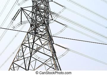 Close-up high voltage pole danger zone