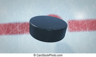 Close-up Hockey Puck Drop in Face-off Zone. 3d animation of...
