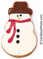 Close up Holiday Snowman Gingerbread Man Cookie over White
