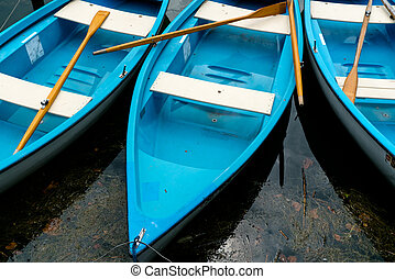 bright blue and white rowboats in dark lake water