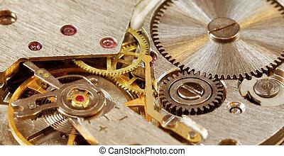 close-up, horloge, mechanisch