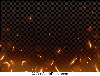 Close-up hot fiery sparkles and flame particles isolated on a black transparent background.