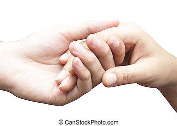 human hands holding together