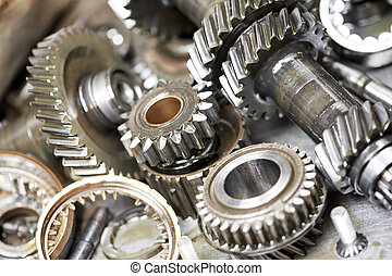 close-up, i, automobil, motor, det gears
