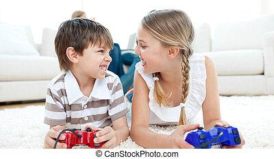 close-up, i, børn spille, boldspil video