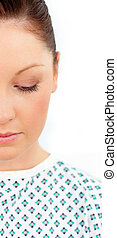 close-up, i, en, kriseramt, kvindelig, patient