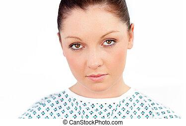 close-up, i, en, sygelig, kvindelig, patient