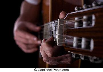 close-up, i, mand, spille, på, guitar