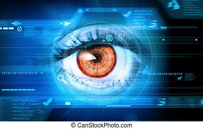 close-up, i, menneske øje