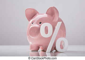 close-up, i, procentdel underskriv, og, piggy bank