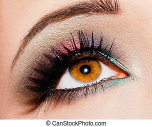 close-up, i, smukke, womanish, øje