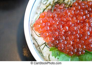 Close up ikura (salmon roe), Japanese food style.