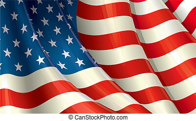 American Flag - Close Up illustration of a waving American ...