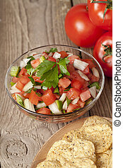fresh salsa on bowl