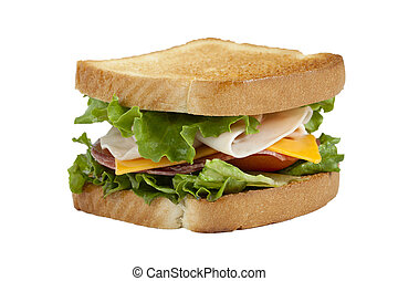 club sandwich - Close up image of a club sandwich against ...
