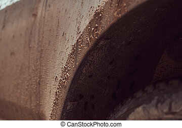 Close-up image of a dirty car after a trip around the countryside
