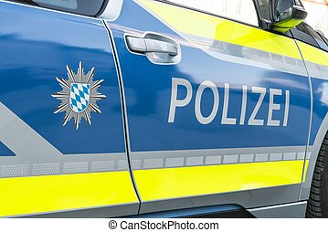 Close-up image of a German police car