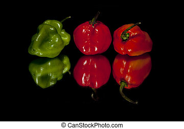 a group of habanero chilies