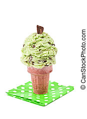 mint choco chip ice cream cone