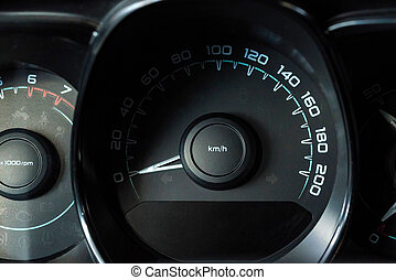 Close up image of a modern car speedometer - Close-up photo...