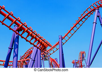 rollercoaster track and the blue sky