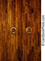 Close-up image of ancient door